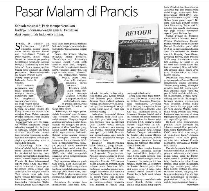 Artikel ini ketika nongol di Koran Tempo edisi 16 November 2014 (halaman 22)
