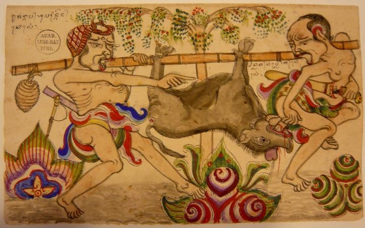 Mengangkut babi hutan, karja I Ketoet Gedé, Singaradja, sekitar 1880, Cod.Or. 3390-144, Perpustakaan Universitas Leiden (perhatikan apa jang dilakuken babi hutan terhadap salah satu pria jang mengangkutnja).