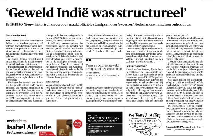 Berita utama NRC Handelsblad edisi 14 Agustus 2015