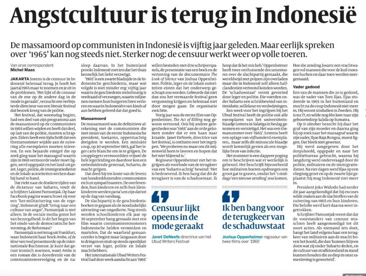 Artikel de Volkskrant edisi 26 oktober 2015 halaman 15