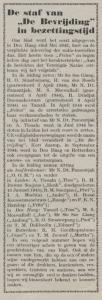 Kolom de Bevrijding edisi djuni 1945 jang memuat nama staf