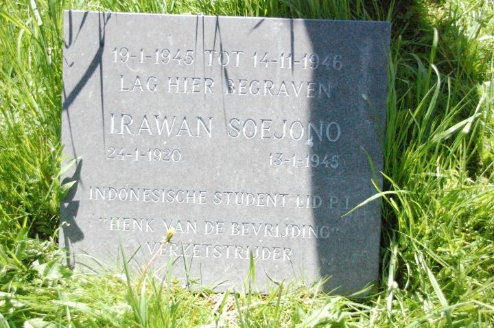 Liang lahat bekas kubur Irawan Soejono di makam Groenesteeg Leiden