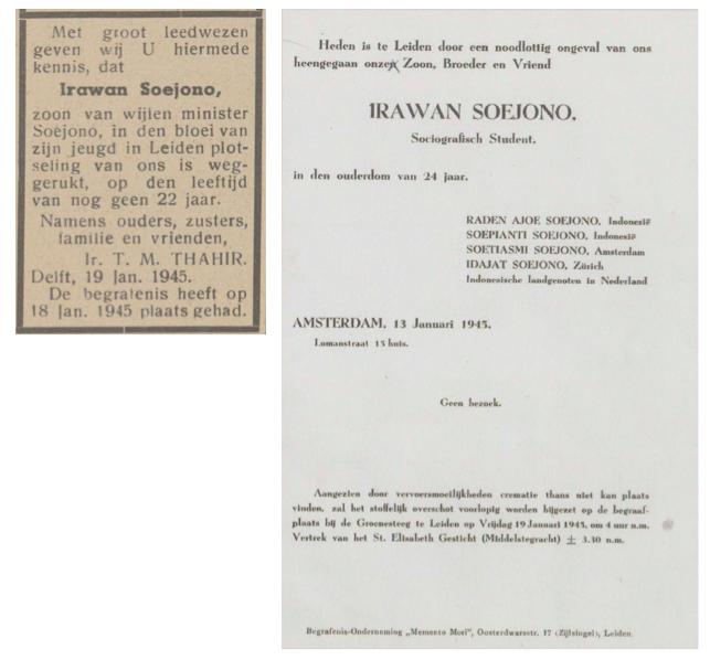 Kabar duka kematian Irawan Soejono, di koran dan sebagai kartu untuk dikirim