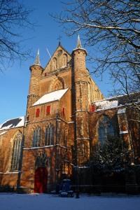 Pieterskerk - Leiden, sewaktu musim saldju