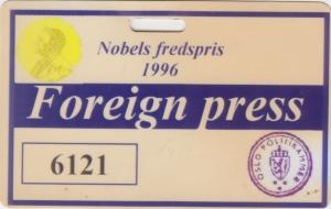 Kartu pers Nobels fredspris 1996