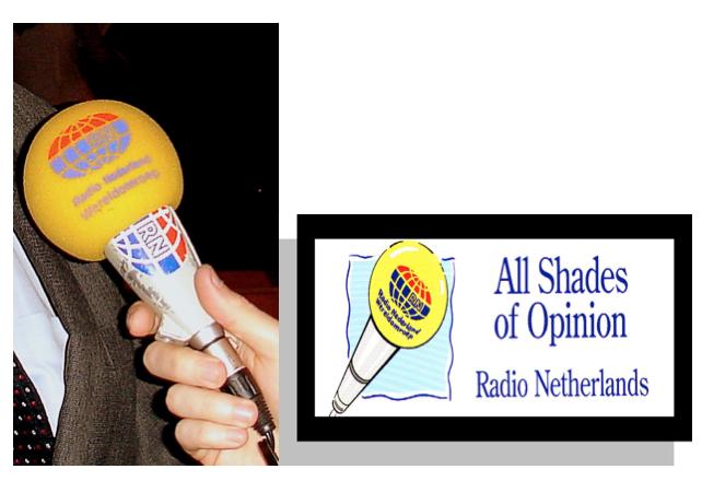 Mikrofon Radio Nederland dan motto siaran bahasa Inggris