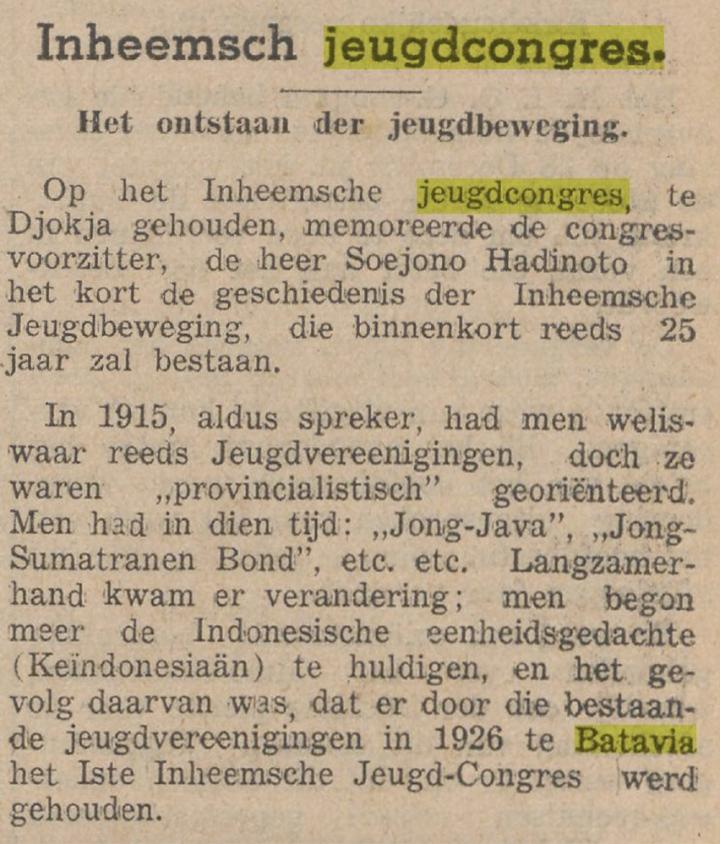 Koran berbahasa Belanda tahun 1953 memberitakan 25 tahun Soempah Pemoeda