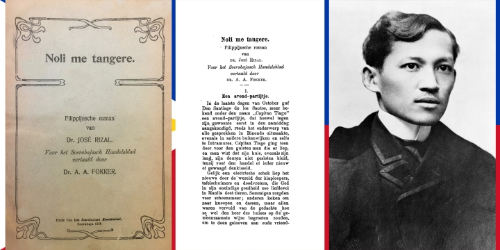 Sampul depan, halaman pertama terdjemahan bahasa Belanda Noli me tángere dan José Rizal