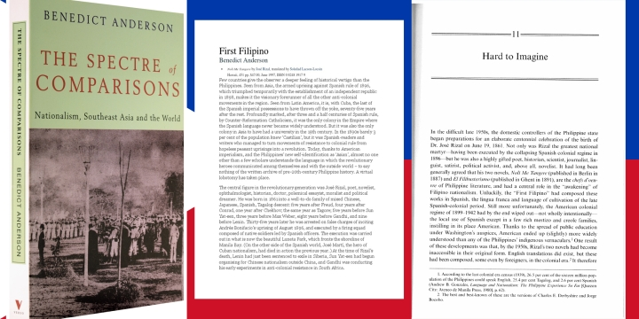 Sampul depan »Spectre of Comparisions« dan dua bab tentang José Rizal serta novel pertamanja »Noli me tángere«