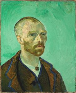 Potret diri Vincent van Gogh jang didedikannja kepada Paul Gauguin (https://nl.wikipedia.org/wiki/Vincent_van_Gogh#/media/File:Van_Gogh_self-portrait_dedicated_to_Gauguin.jpg)