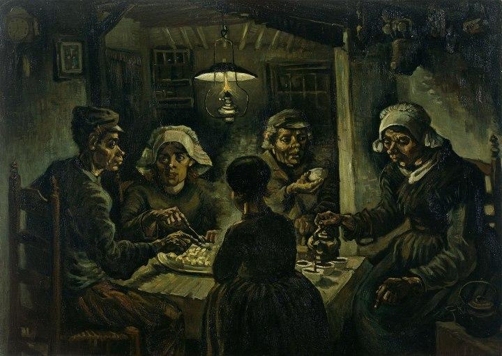 Aardapeleters alias pemakan kentang (https://nl.wikipedia.org/wiki/Vincent_van_Gogh#/media/File:Van-willem-vincent-gogh-die-kartoffelesser-03850.jpg)