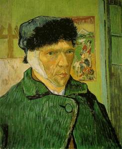 Potret diri Vincent van Gogh dengan telinga dibalut (https://nl.wikipedia.org/wiki/Vincent_van_Gogh#/media/File:VanGogh-self-portrait-with_bandaged_ear.jpg)