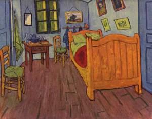 Kamar tidur Vincent van Gogh di Arles (https://nl.wikipedia.org/wiki/Vincent_van_Gogh#/media/File:Vincent_Willem_van_Gogh_137.jpg)