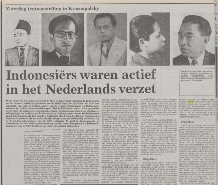 Koran »De Waarheid« edisi 19 april 1985 memuat artikel tentang peran aktif orang Indonesia dalam perlawanan