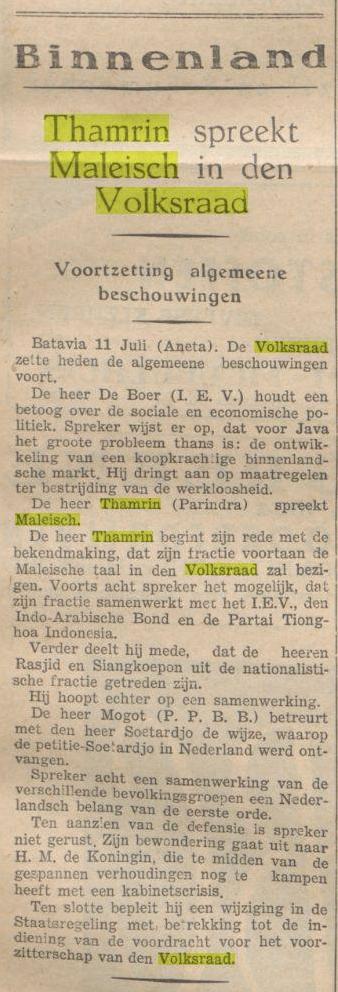 Berita pers bahasa Belanda tentang Thamrin berbahasa Melajoe dalam sidang de Volksraad
