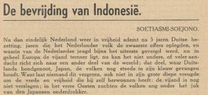 Esai Mimi Soetiasmi Soejono dimuat dalam dwimingguan »Jeugdland« nomer 20, 1 djuni 1945