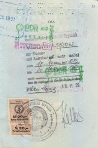 Visum untuk masuk Djerman Timur, sebelum negara ini gulung tikar
